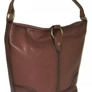 Frye Leather Ring Hobo Handbag Tote Bucket